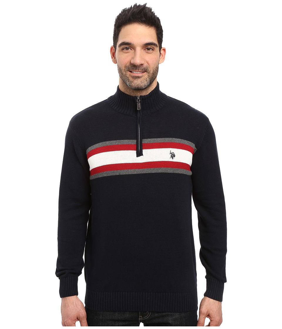 U.S. POLO ASSN. - 1/4 Zip Cotton Chest Stripe (Navy) Men's Sweater