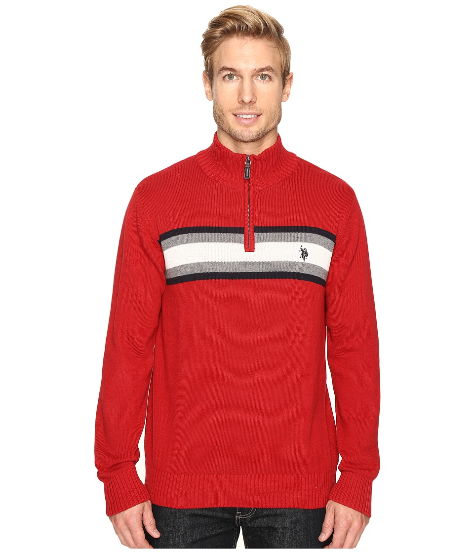 U.S. POLO ASSN. - 1/4 Zip Cotton Chest Stripe (Red) Men's Sweater