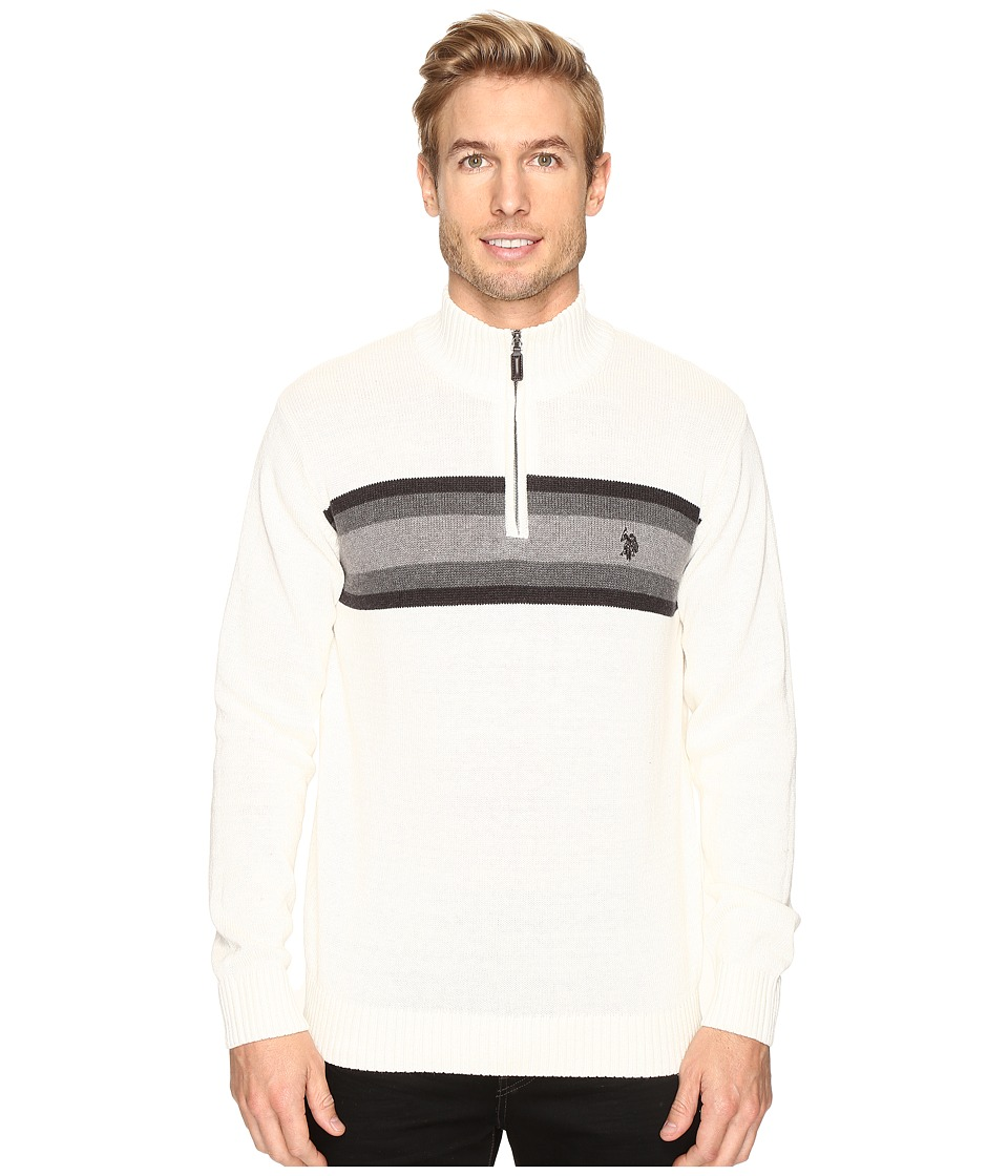 U.S. POLO ASSN. - 1/4 Zip Cotton Chest Stripe (Winter White) Men's Sweater