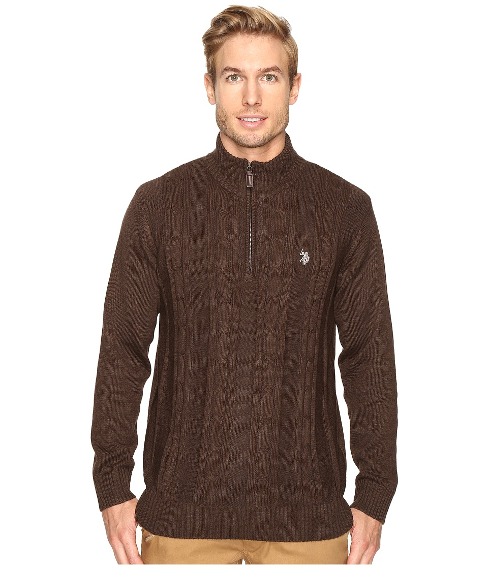 U.S. POLO ASSN. - 1/4 Zip Cotton Cable Sherpa (Chocolate Heather) Men's Sweater