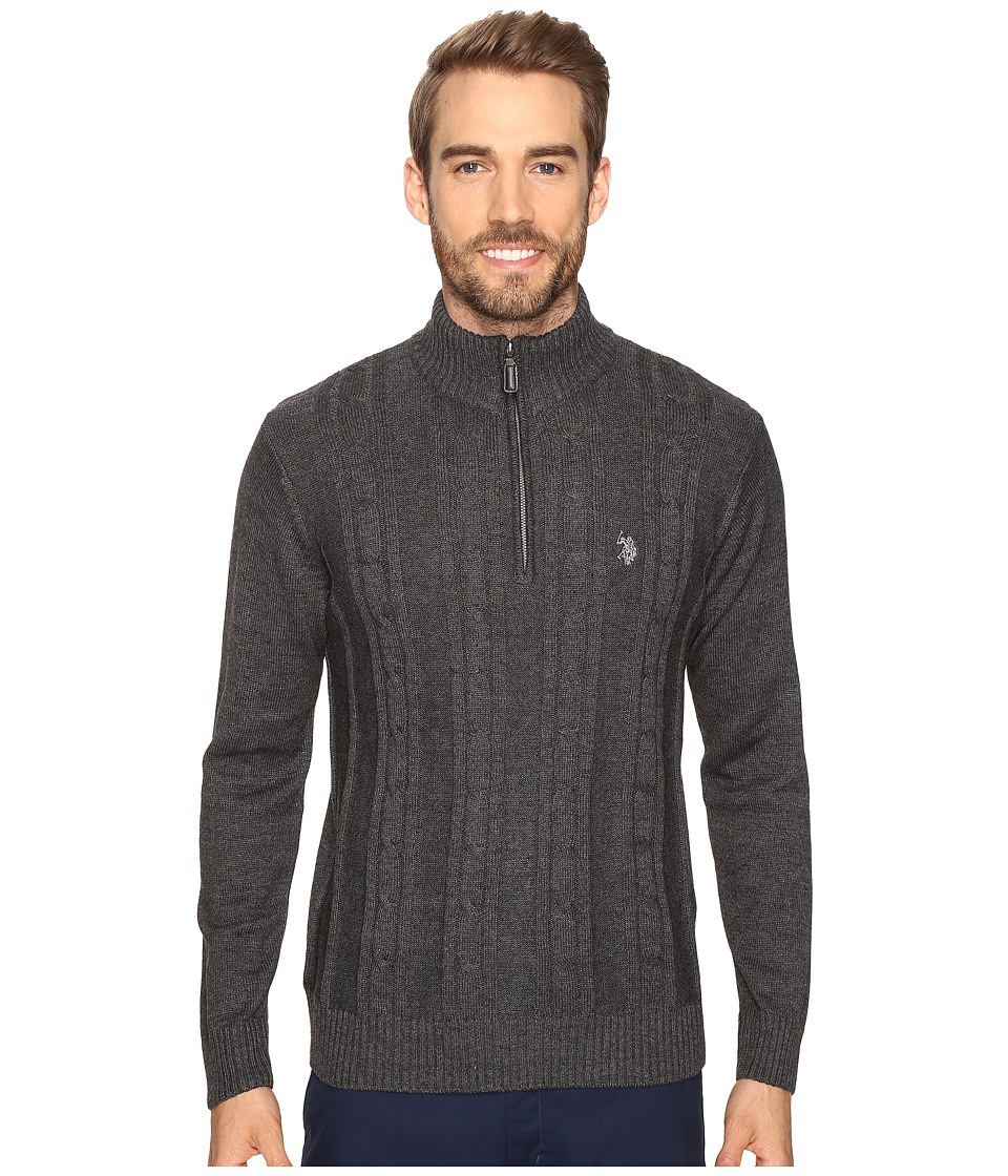 U.S. POLO ASSN. - 1/4 Zip Cotton Cable Sherpa (Charcoal Heather) Men's Sweater
