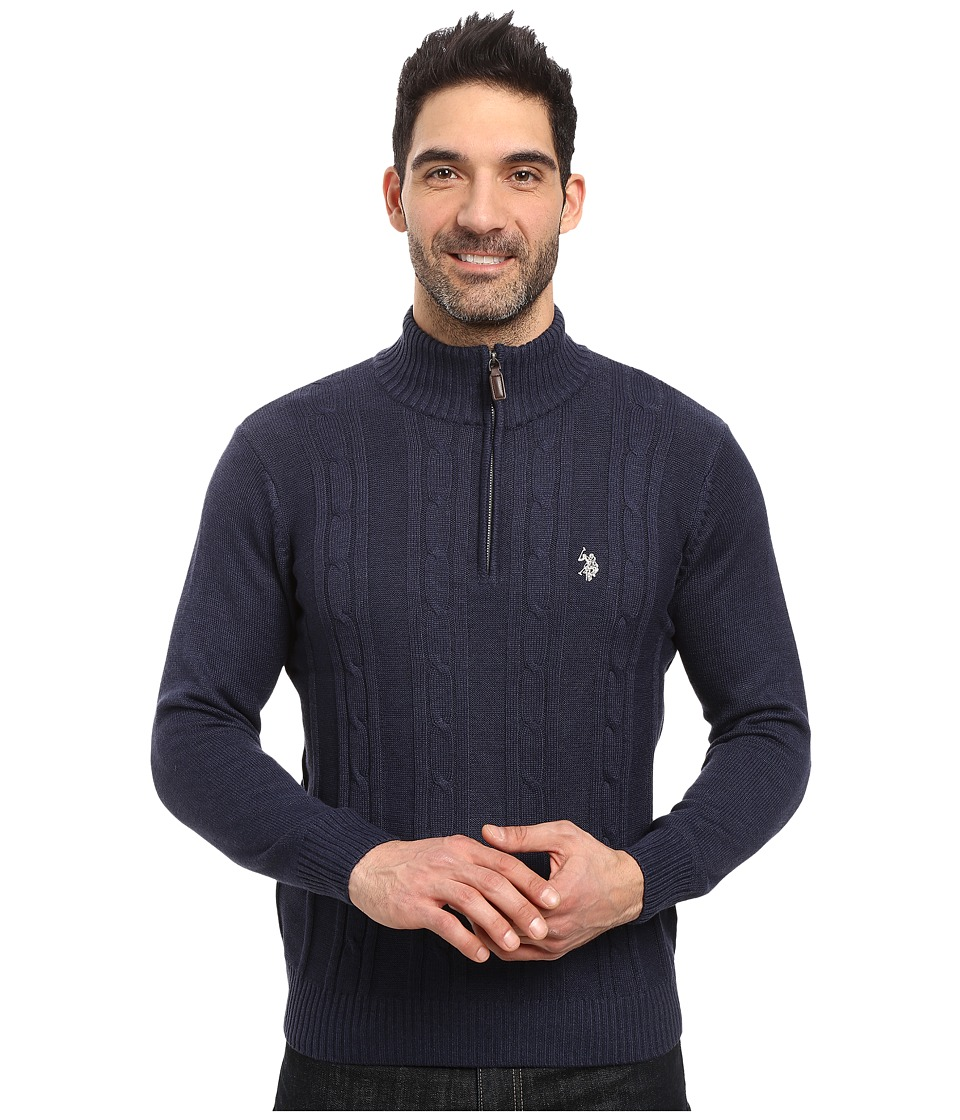 U.S. POLO ASSN. - 1/4 Zip Cotton Cable Sherpa (Midnight Heather) Men's Sweater