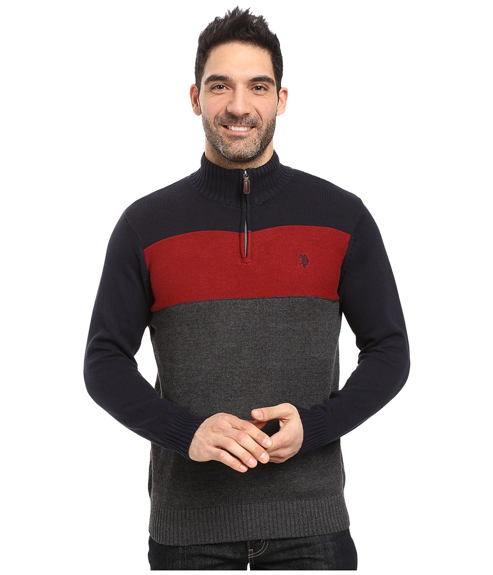 U.S. POLO ASSN. - 1/4 Zip Cotton Color Block Sherpa (Navy) Men's Sweater