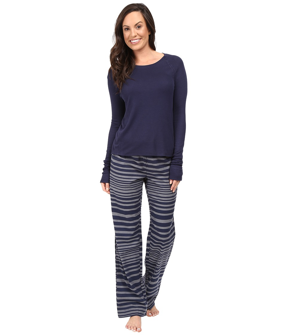 Splendid - Festive Flannel PJ Set (Varigated Stripes) Women's Pajama Sets
