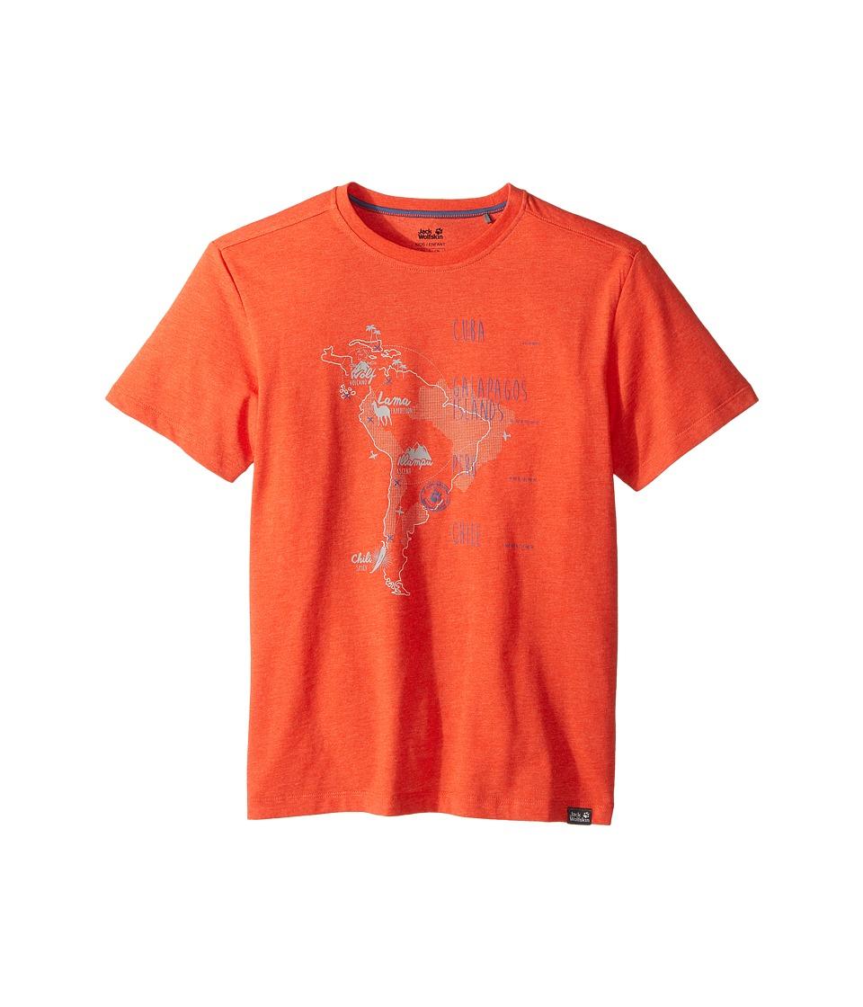 Jack Wolfskin Kids - Journey Tee (Little Kids/Big Kids) (Lobster Red) Boy's T Shirt