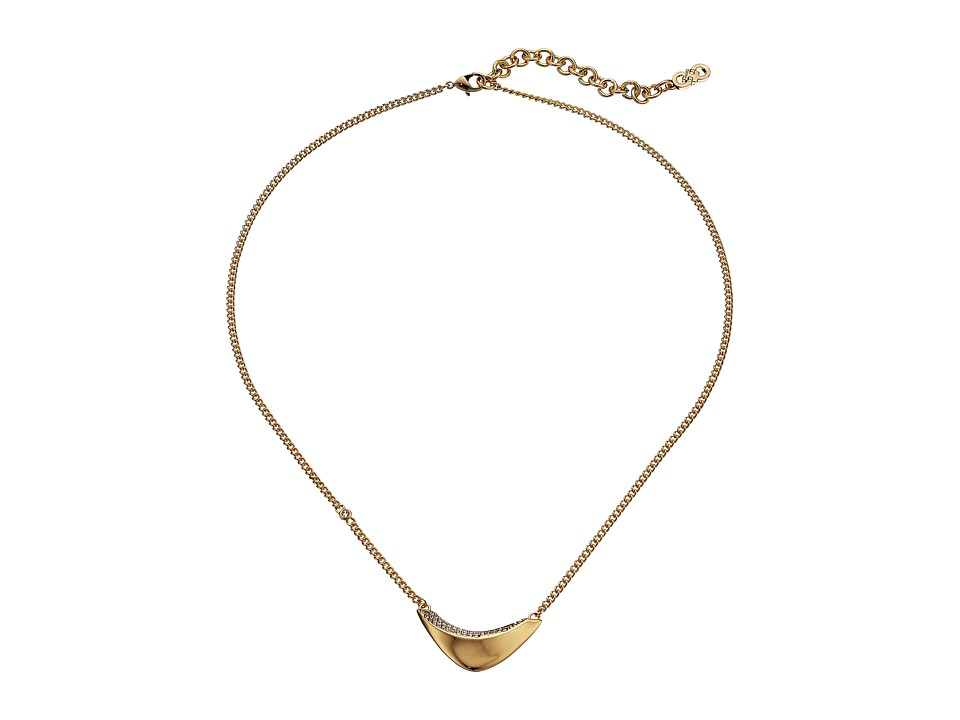 Cole Haan - 16 Teardrop Frontal Necklace (Gold/Crystal) Necklace