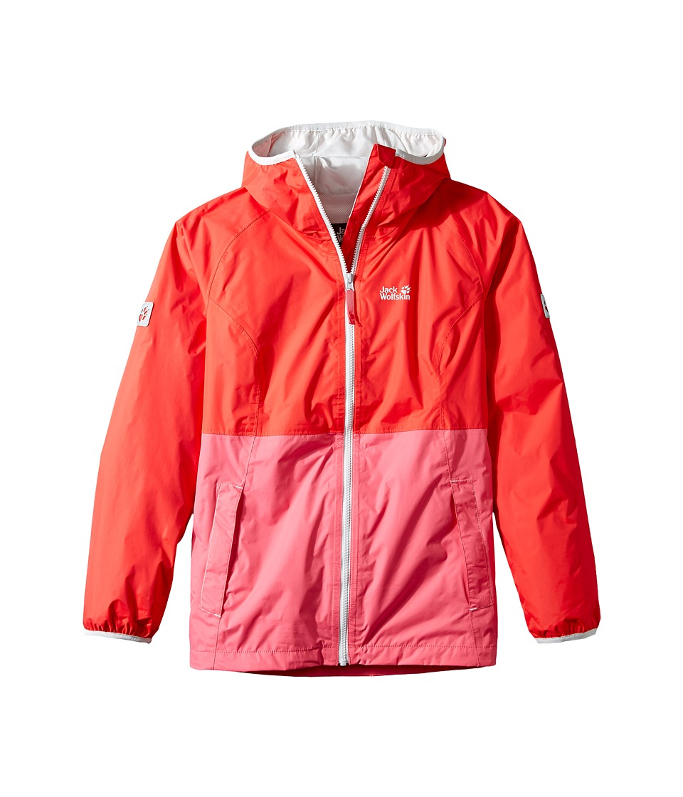 Jack Wolfskin Kids - Rainy Days Rain Jacket (Little Kids/Big Kids) (Hibiscus Red) Girl's Coat