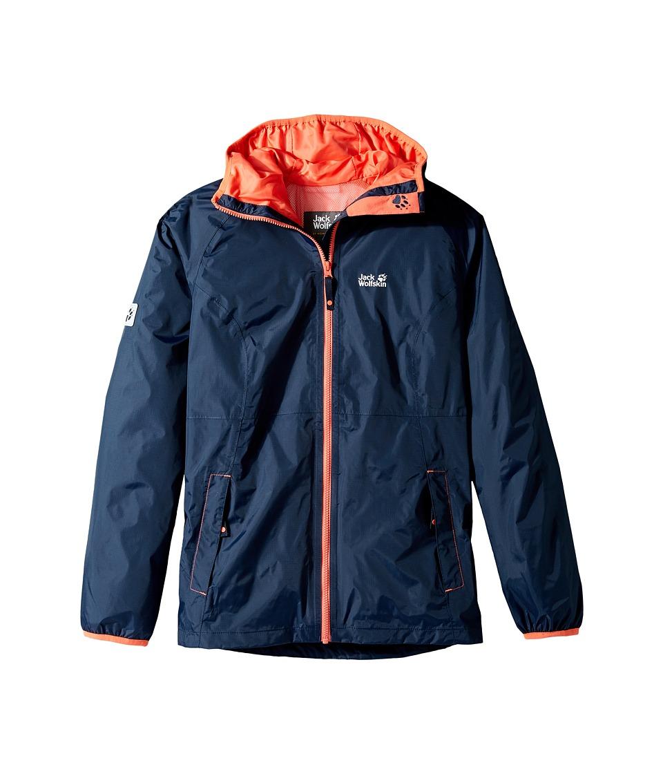 Jack Wolfskin Kids - Rainy Days Rain Jacket (Little Kids/Big Kids) (Midnight Blue) Girl's Coat