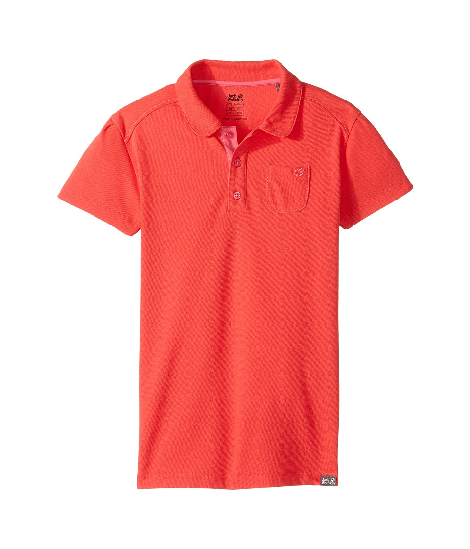 Jack Wolfskin Kids - Pique Polo (Little Kids/Big Kids) (Hibiscus Red) Girl's Short Sleeve Pullover