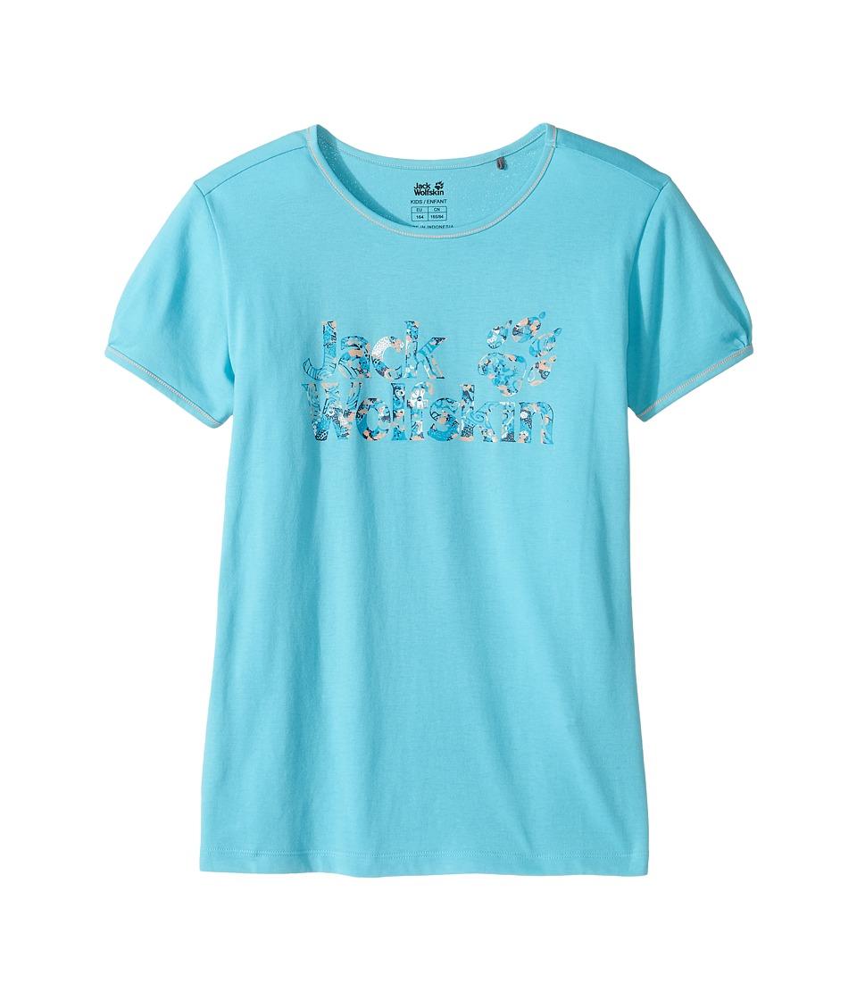Jack Wolfskin Kids - Brand Tee (Little Kids/Big Kids) (Lake Blue) Girl's T Shirt