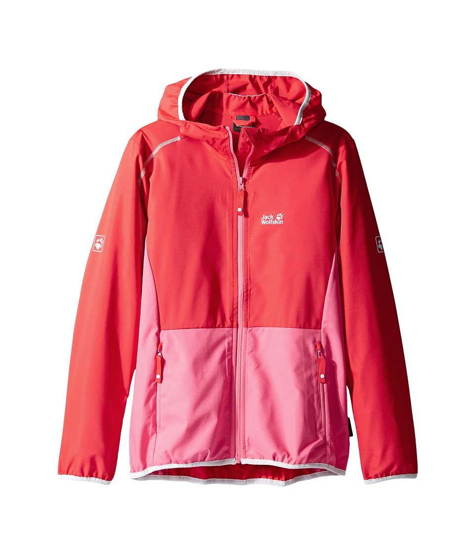 Jack Wolfskin Kids - Turbulence Softshell Jacket (Little Kids/Big Kids) (Hibiscus Red) Girl's Coat