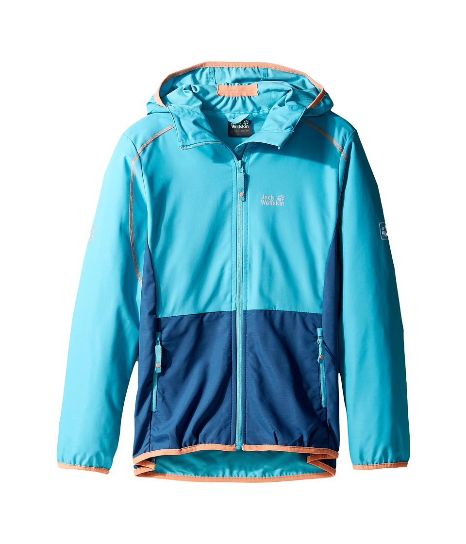 Jack Wolfskin Kids Turbulence Softshell Jacket (Little Kids/Big Kids) (Lake Blue) Girl