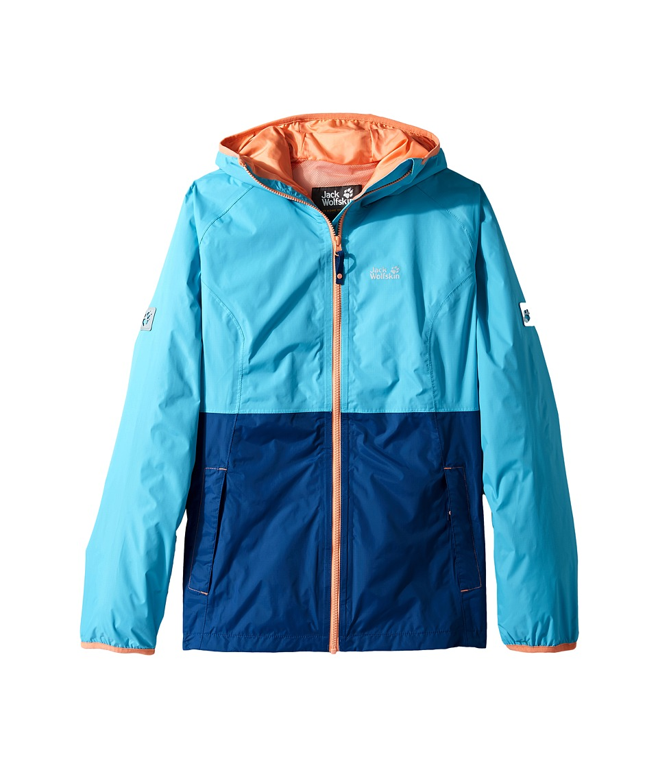 Jack Wolfskin Kids - Rainy Days Rain Jacket (Little Kids/Big Kids) (Lake Blue) Girl's Coat