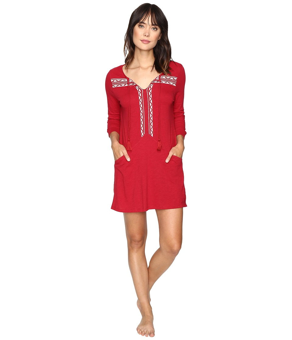 Lucky Brand - Embellished Knit Tunic w/ Pocket (Blazer Red) Women's Clothing