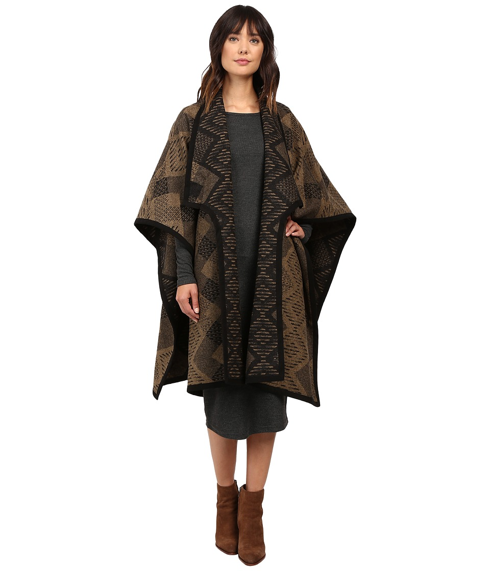Pendleton - Suede Bound Blanket Wrap (Escondido Tan/Black) Women's Sweater