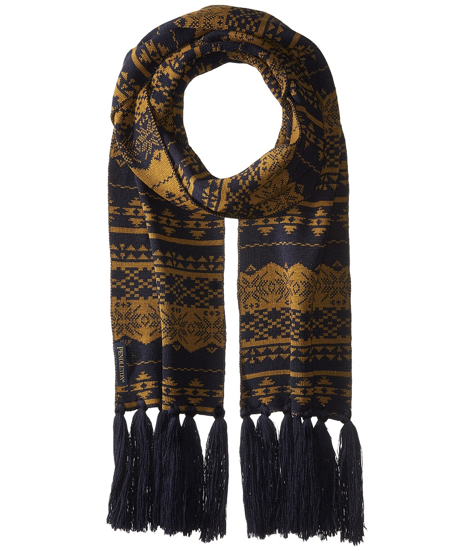 Pendleton - Long Fringe Scarf (Navy/Bronze) Scarves