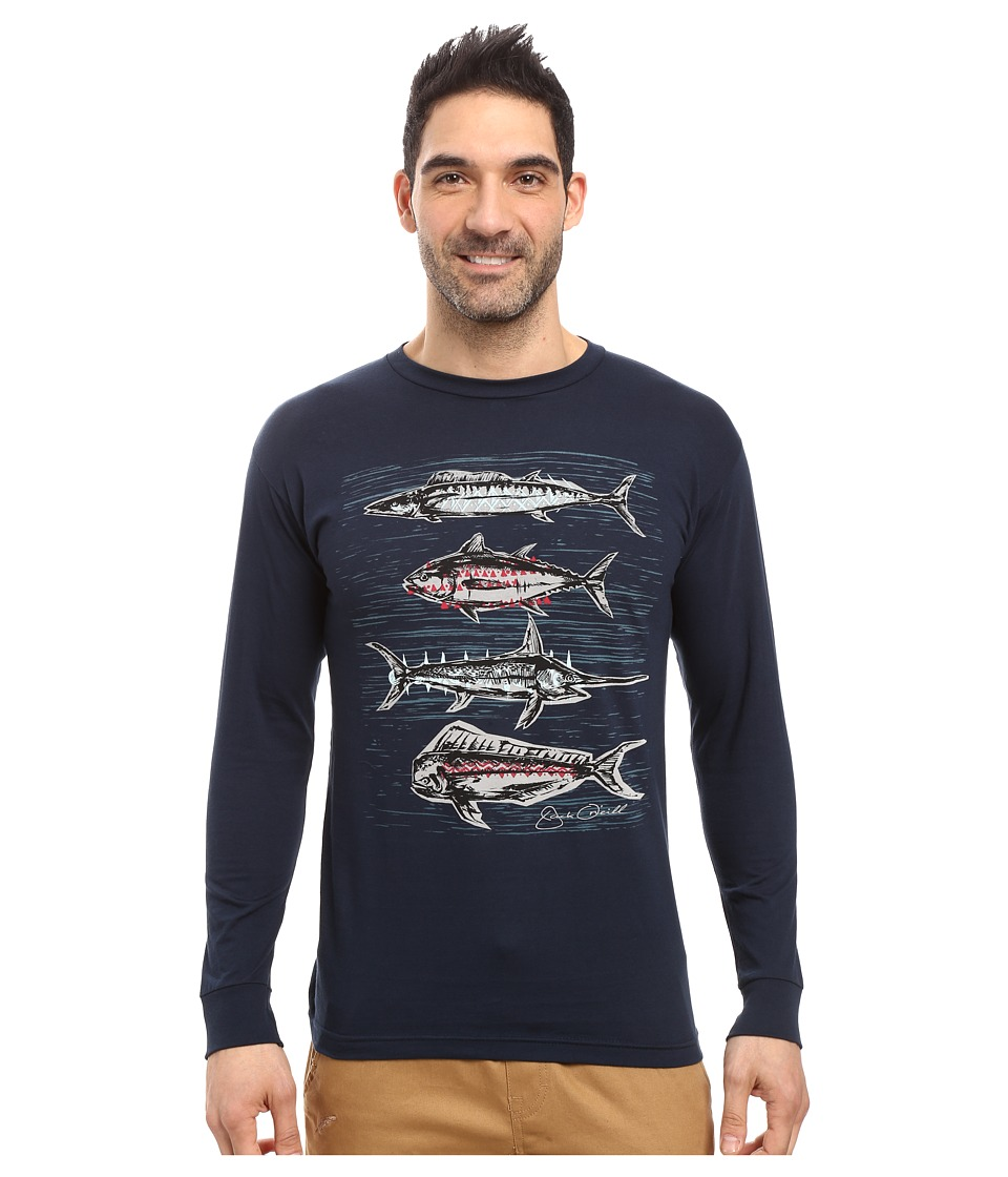 Jack O'Neill - Catch Long Sleeve Screen Tee Imprint (Navy) Men's T Shirt