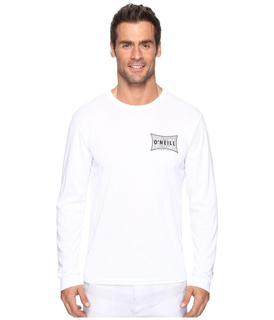 Jack O'Neill - Mainsail Long Sleeve Performance Screen Tee Imprint (White) Men's T Shirt