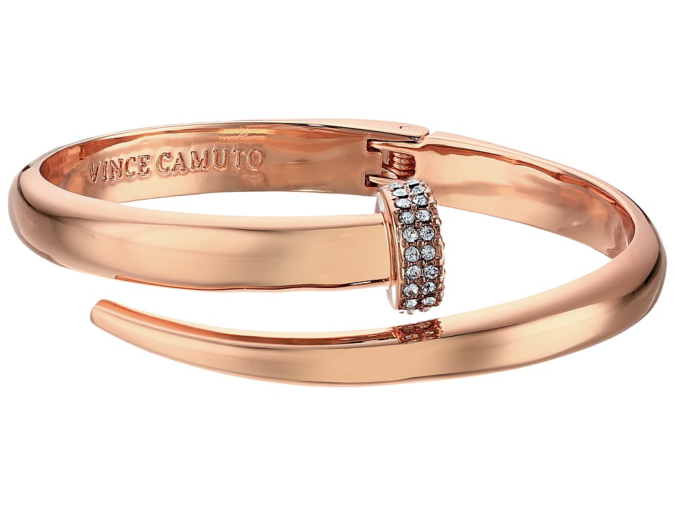 Vince Camuto - Flat Nail Head Hinged Cuff Bracelet (Burnt Rose Gold/Crystal) Bracelet