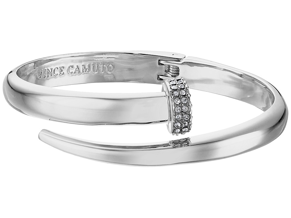 Vince Camuto - Flat Nail Head Hinged Cuff Bracelet (Light Rhodium/Crystal) Bracelet