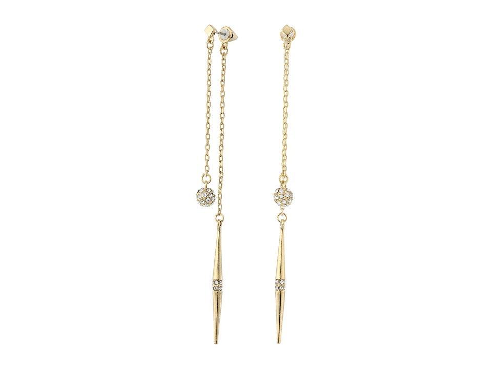 Vince Camuto - 2 Part Double Drop Earrings (Gold/Crystal) Earring