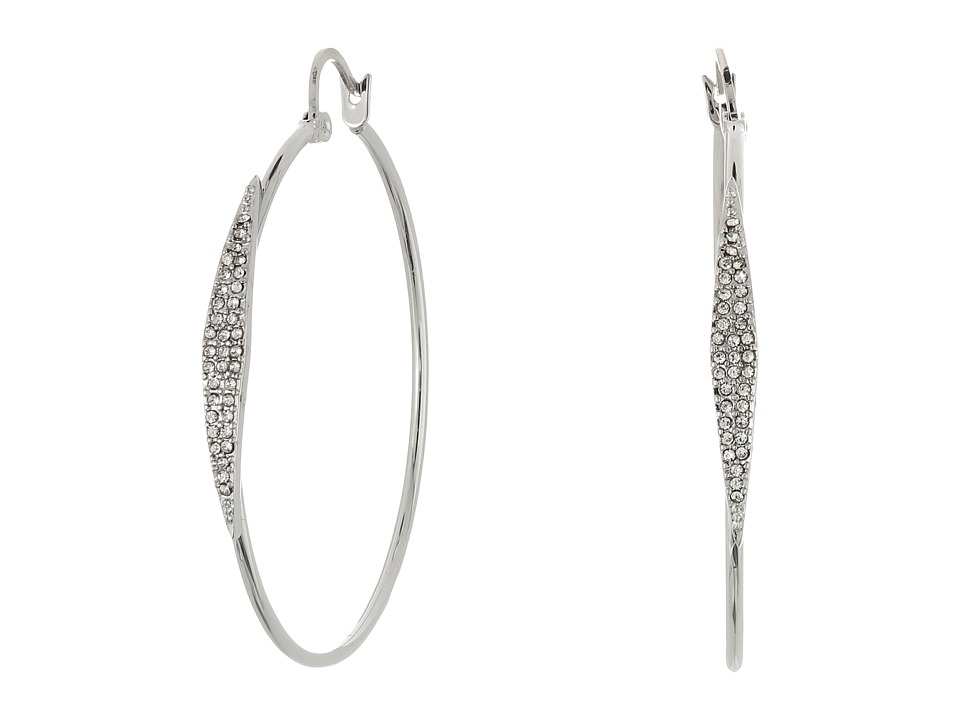 Vince Camuto - Small Pave Hoop Earrings (Light Rhodium/Crystal) Earring