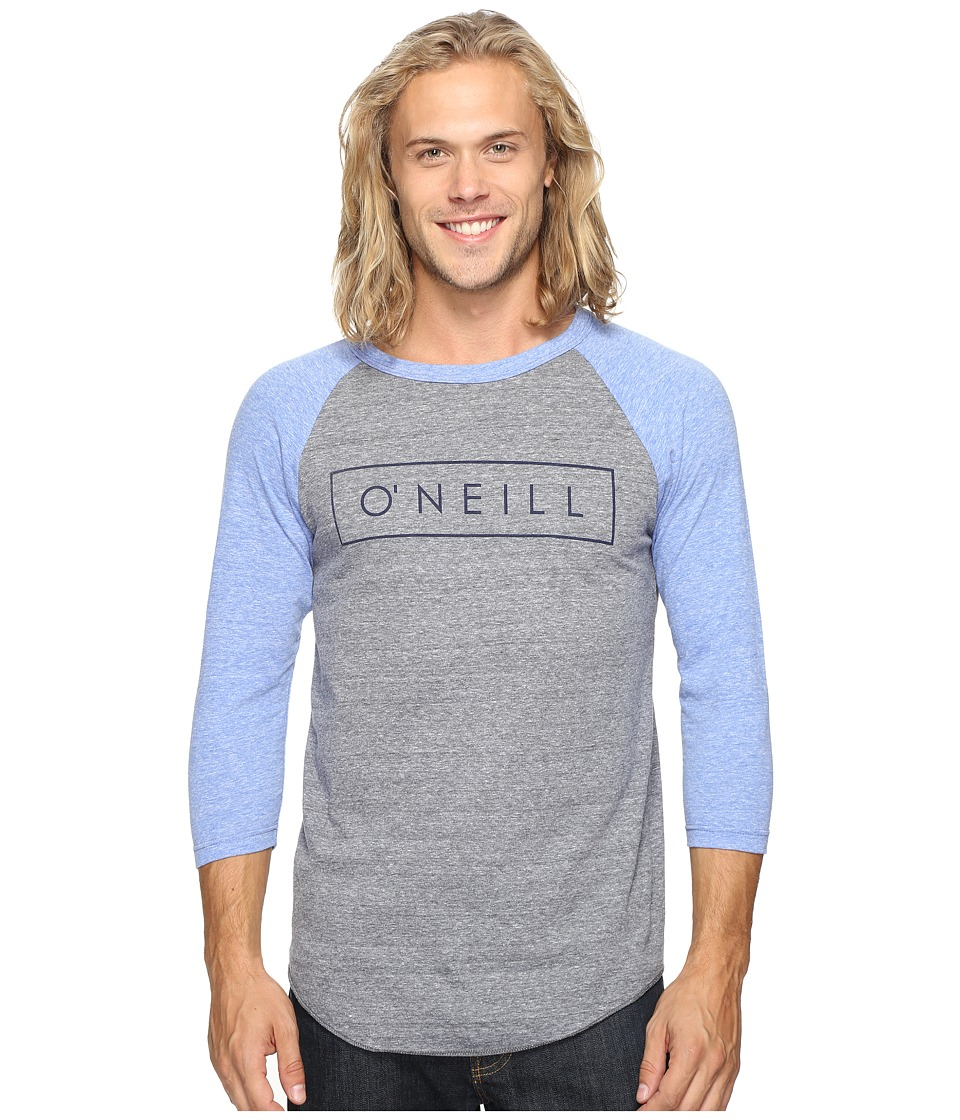 O'Neill - Running Raglan Long Sleeve Screens Impression T-Shirt (Grey/Blue) Men's T Shirt