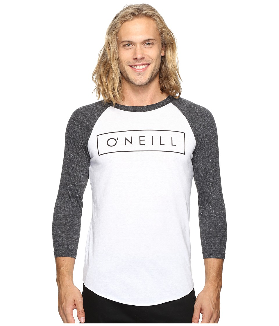 O'Neill - Running Raglan Long Sleeve Screens Impression T-Shirt (White/Black) Men's T Shirt