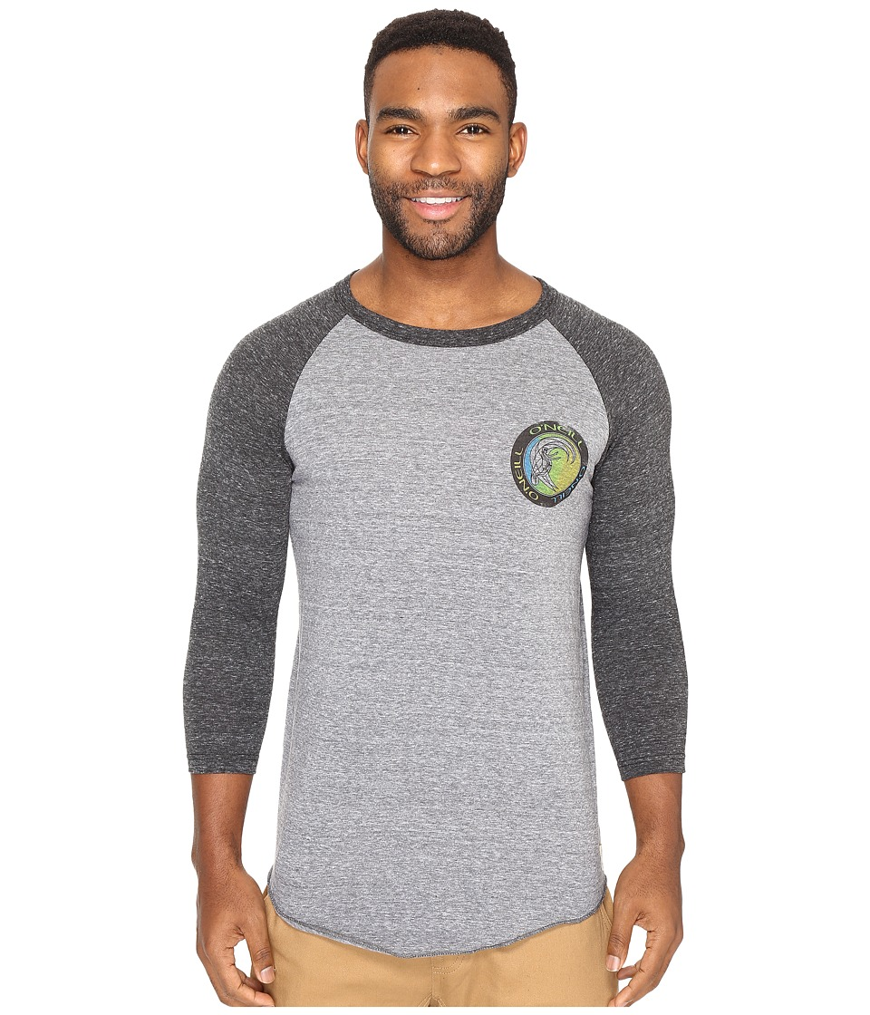 O'Neill - Outbound Raglan Long Sleeve Screens Impression T-Shirt (Grey/Black) Men's T Shirt