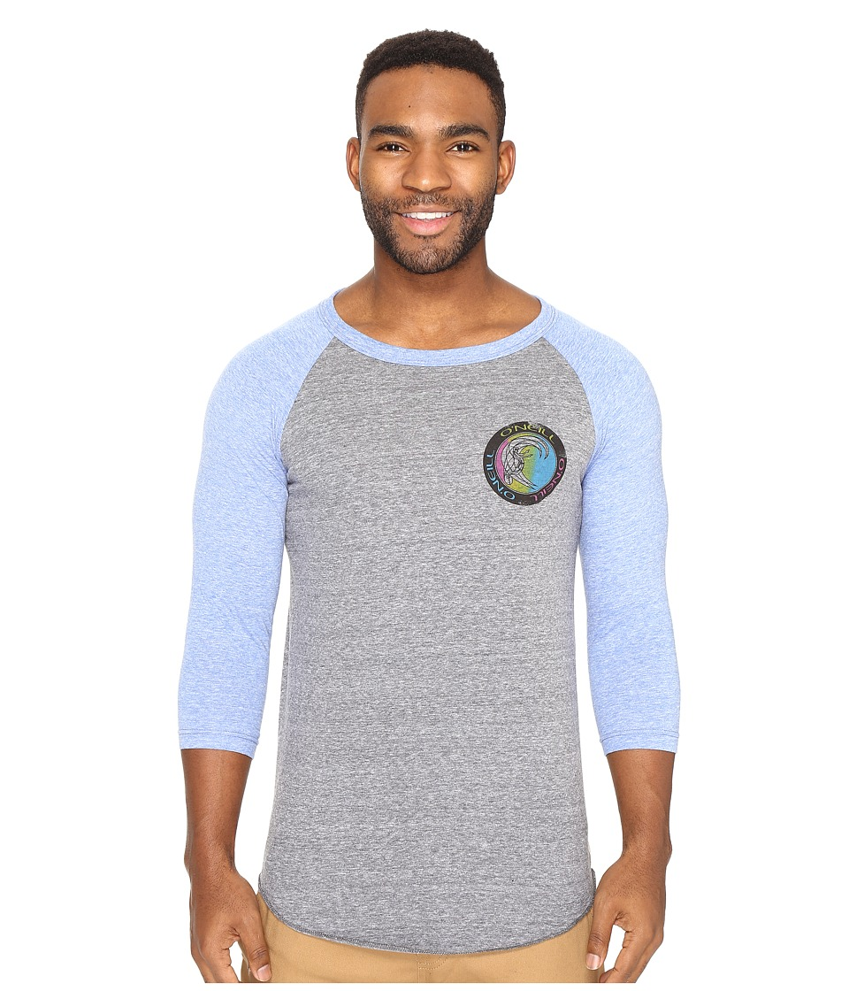 O'Neill - Outbound Raglan Long Sleeve Screens Impression T-Shirt (Grey/Blue) Men's T Shirt