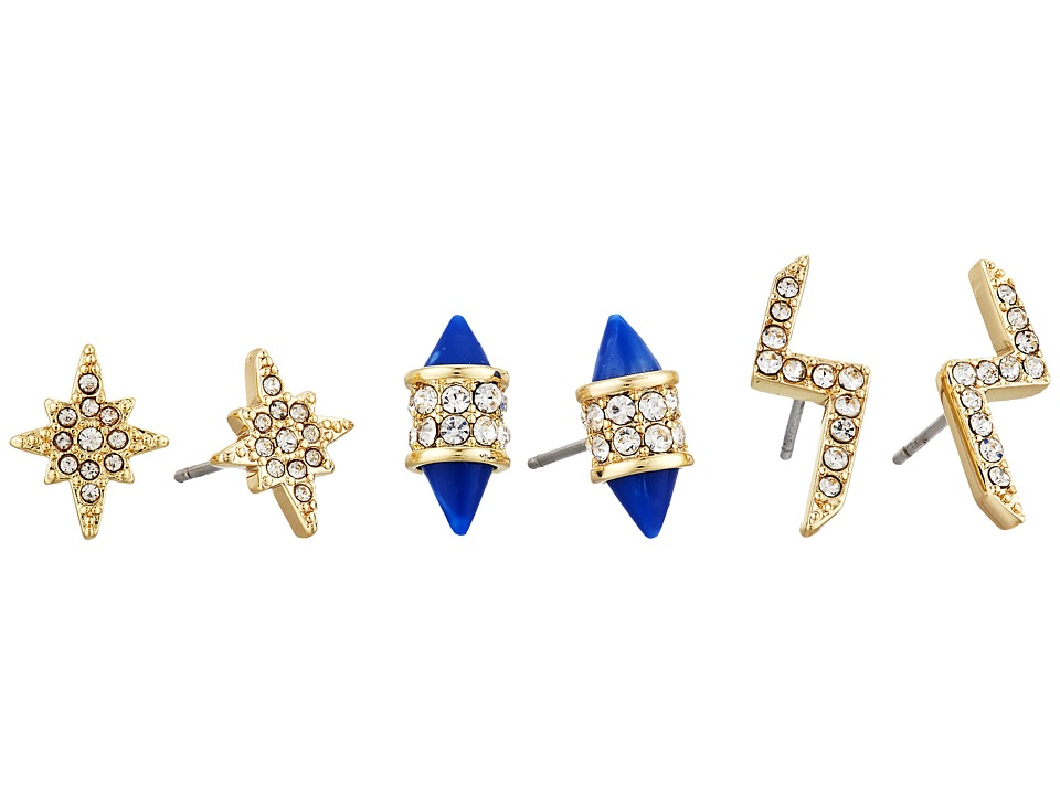 Vince Camuto - Multi Stud Mix Earrings (Gold/Crystal/Navy Resin) Earring