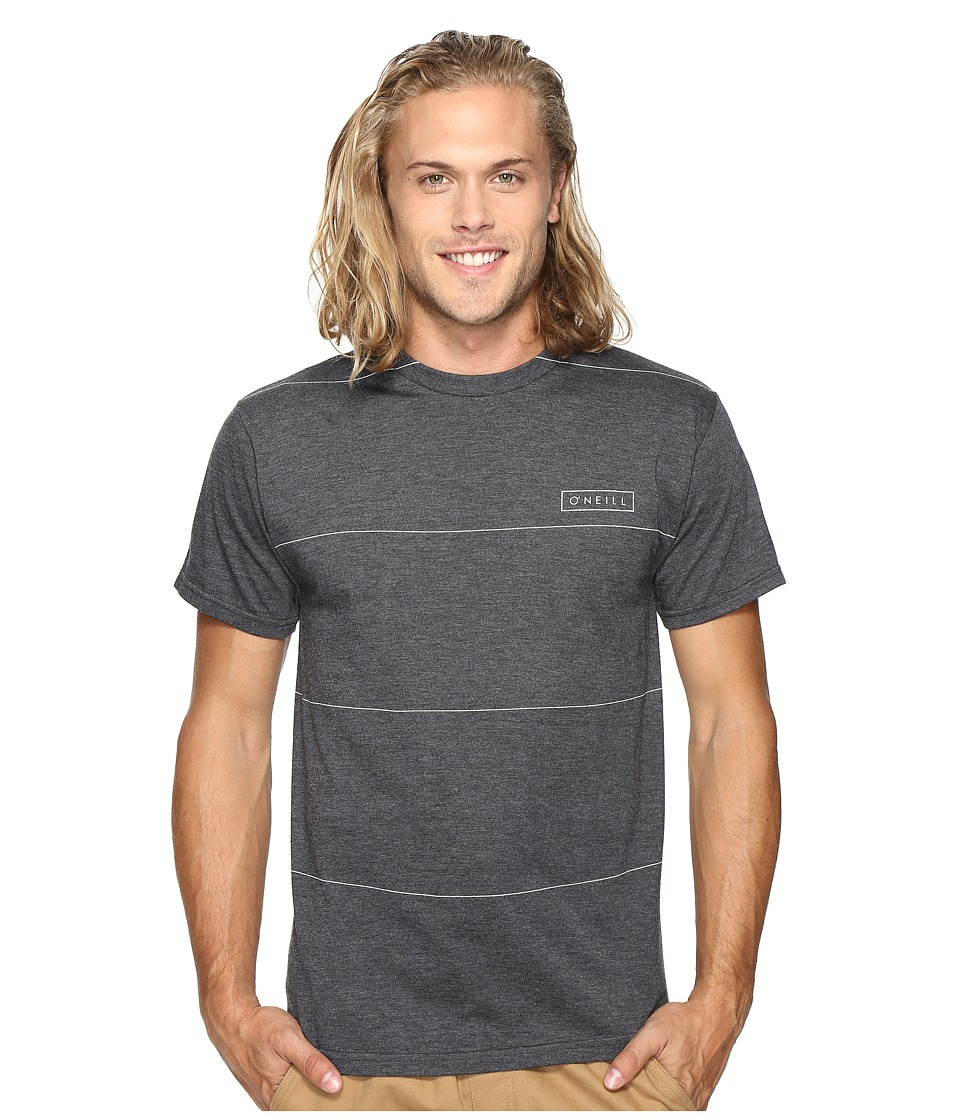 O'Neill - Striped Short Sleeve Screens Impression T-Shirt (Heather Black) Men's T Shirt