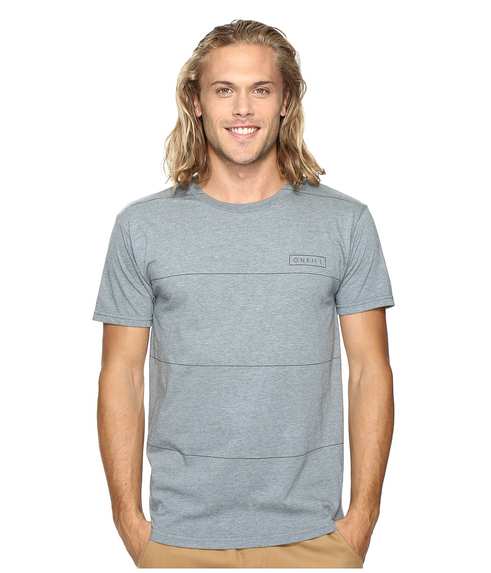 O'Neill - Striped Short Sleeve Screens Impression T-Shirt (Medium Heather Grey) Men's T Shirt