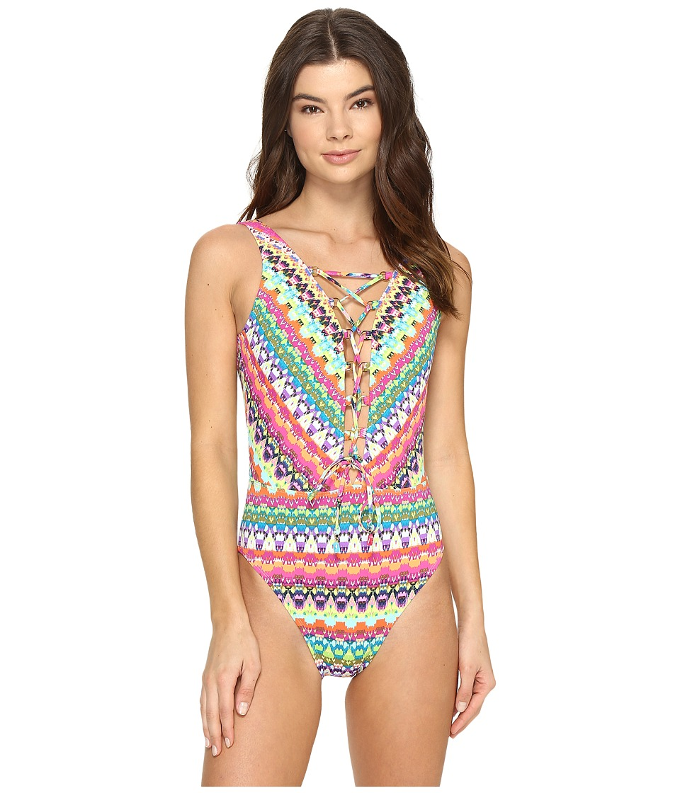 Bleu Rod Beattie - In Living Color Lace Down Over the Shoulder Mio One-Piece (Multi) Women's Swimsuits One Piece