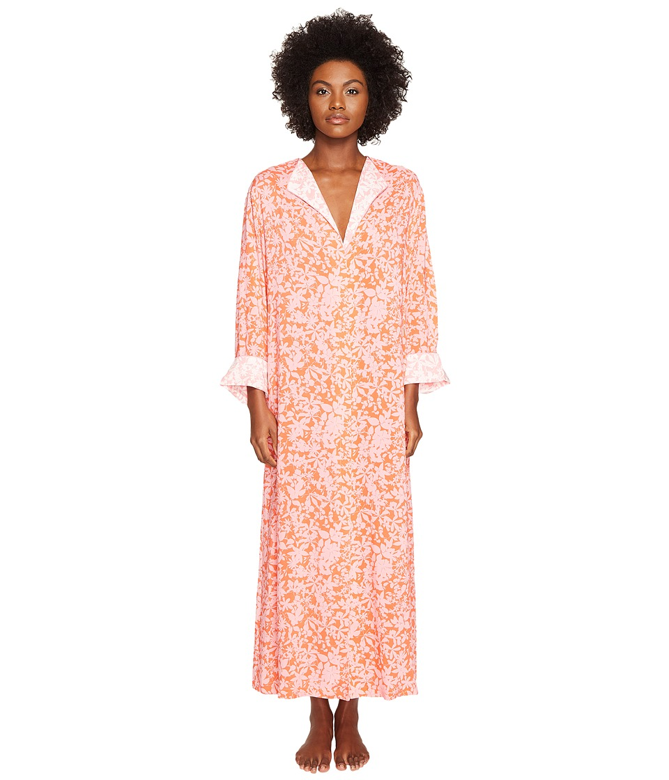 Oscar de la Renta Pink Label - Print Caftan (Orange Shadow Print) Women's Robe