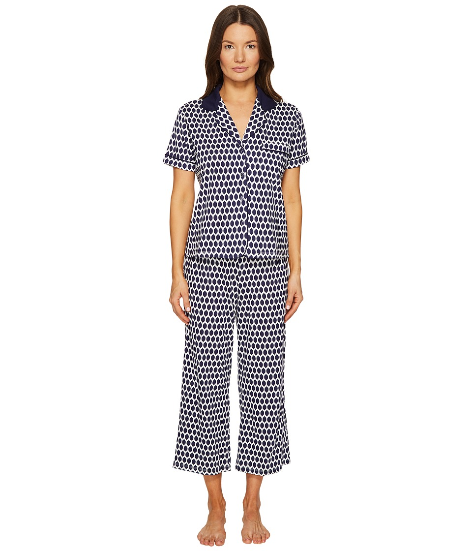 Kate Spade New York - Navy Geometric Lemons Cropped PJ Set (Navy Geometric Lemons) Women's Pajama Sets