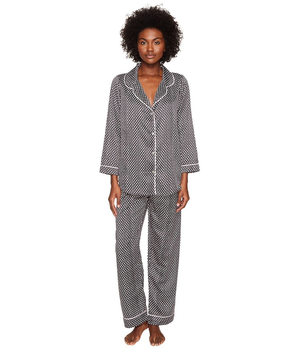 Oscar de la Renta Pink Label - Matte Satin Pajama Set (Black Dot Stripe) Women's Pajama Sets