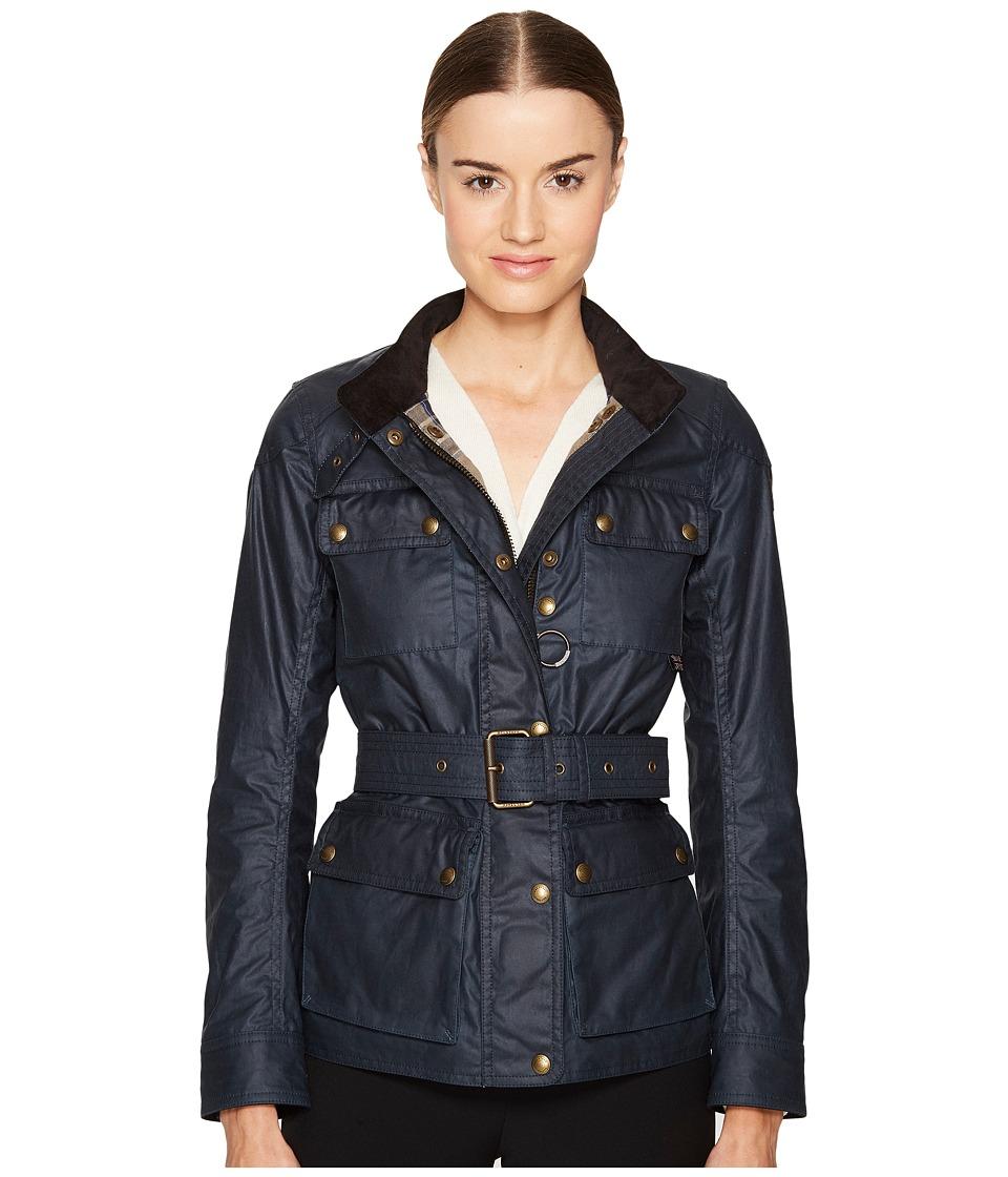 BELSTAFF - Roadmaster 2.0 Signature 6 oz. Wax Cotton Jacket (Dark Teal) Women's Coat