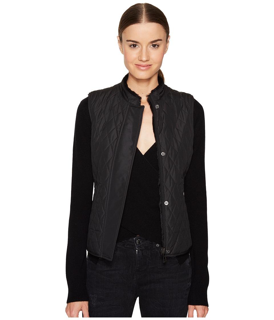 BELSTAFF - Westwell Lightweight Technical Quilt Vest w/ Faux Fur Lining (Black) Women's Vest