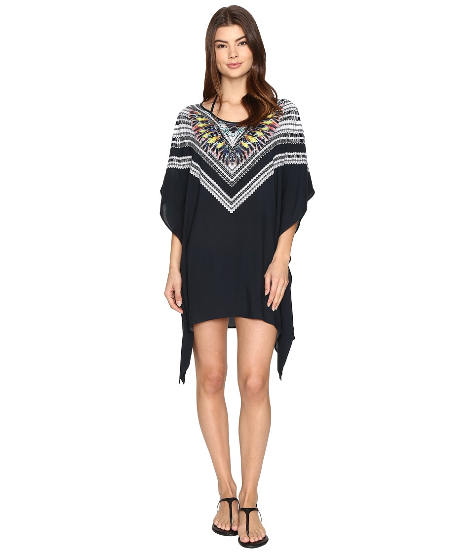 Red Carter - Feather Warrior Rayon Tunic Cover-Up (Deep Lake Multi) Women's Swimwear