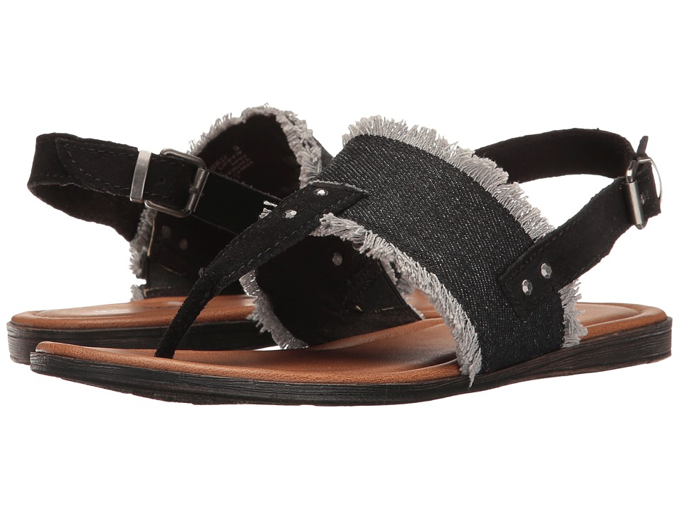 Minnetonka Panama (Black Denim Fabric/Black Suede) Women