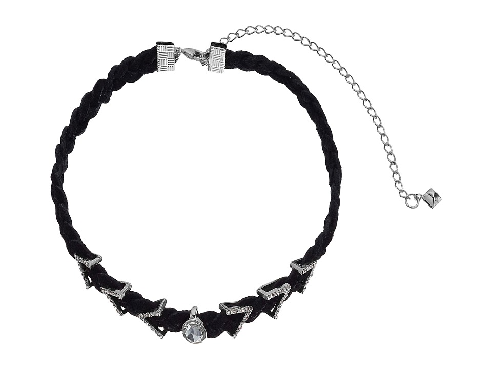 Rebecca Minkoff - Arrows and Stone Charms on Braided Leather Choker Necklace (Gunmetal/Crystal) Necklace