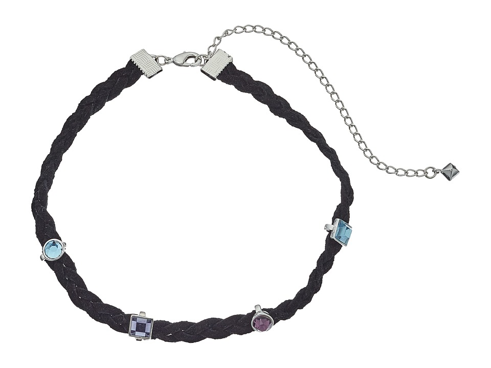 Rebecca Minkoff - Multi Stone Charms on Braided Leather Choker Necklace (Silver/Blue Multi) Necklace