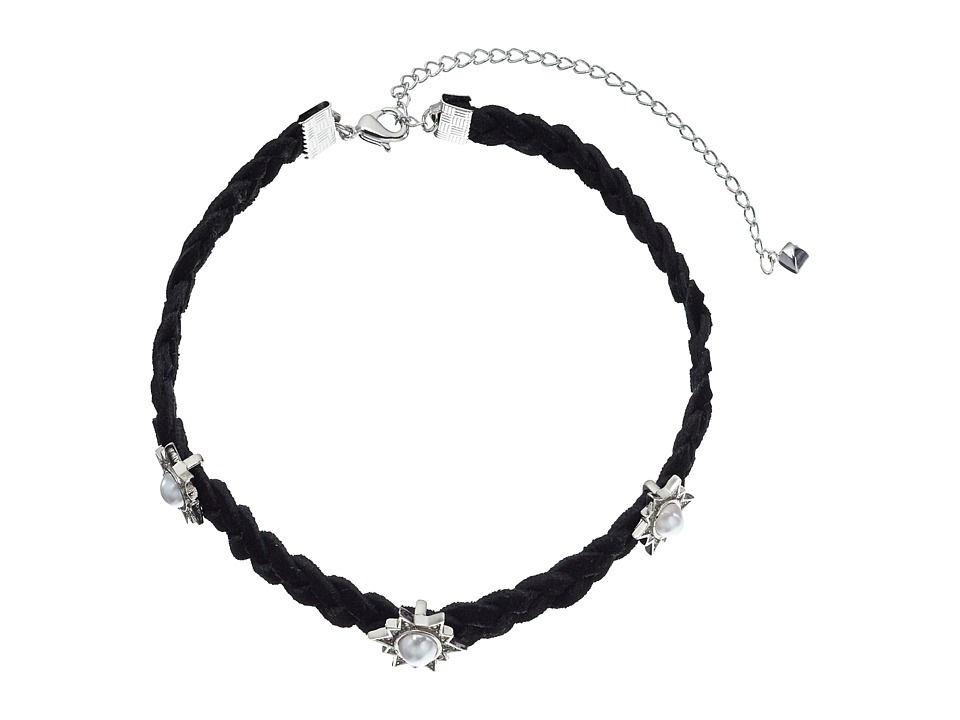 Rebecca Minkoff - Rock N Roll Charms on Braided Leather Choker Necklace (Silver/Pearl) Necklace