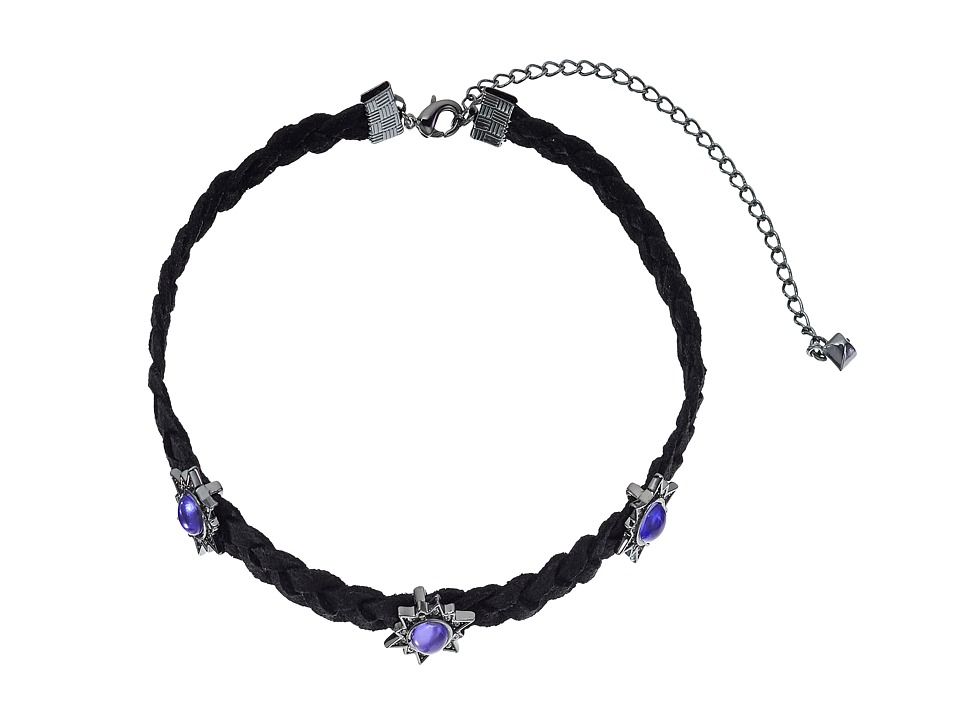 Rebecca Minkoff - Rock N Roll Charms on Braided Leather Choker Necklace (Gunmetal/Lavender) Necklace