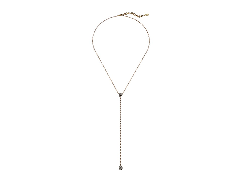 Cole Haan - Pave Teardrop Y Necklace (Gold/Crystal) Necklace