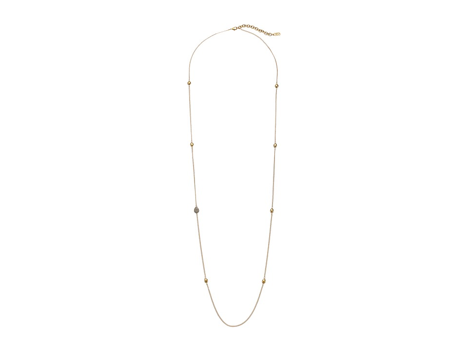 Cole Haan - 34 Teardrop Station Necklace (Gold/Crystal) Necklace