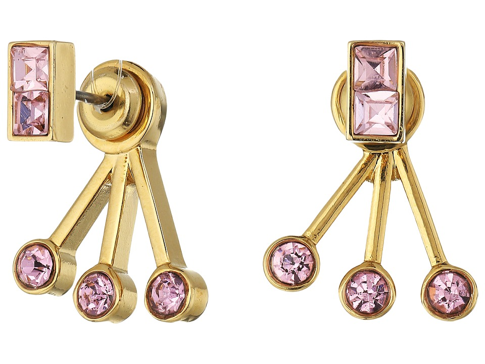 Rebecca Minkoff - Stone Fan Back Ear Jacket Earrings (Gold/Rose) Earring