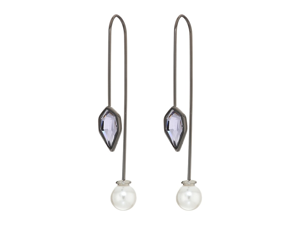 Rebecca Minkoff - Stone Mix Hardwire Threader Earrings (Gunmetal/Lavender) Earring