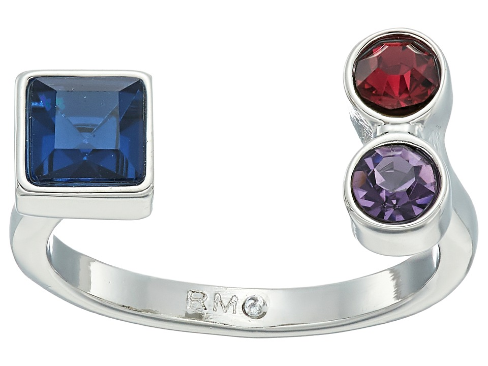 Rebecca Minkoff - Stone Mix U Ring (Silver/Blue Multi) Ring